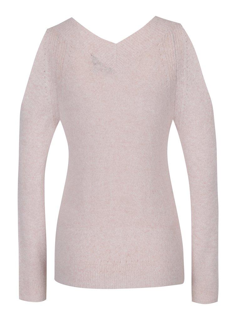 Světle růžový svetr s véčkovým výstřihem Dorothy Perkins