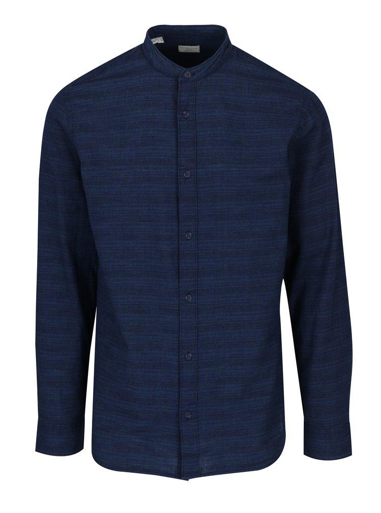 Tmavě modrá košile bez límečku Selected Homme Two Jared