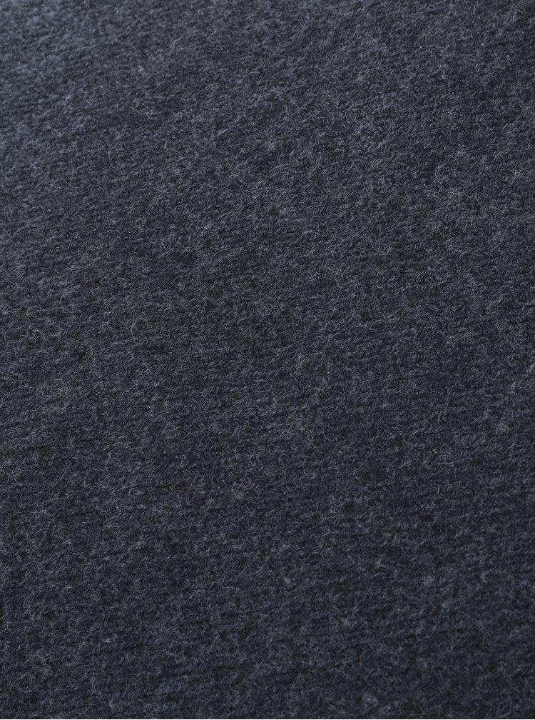 Tmavě šedá žíhaná šála s třásněmi Pieces Kial