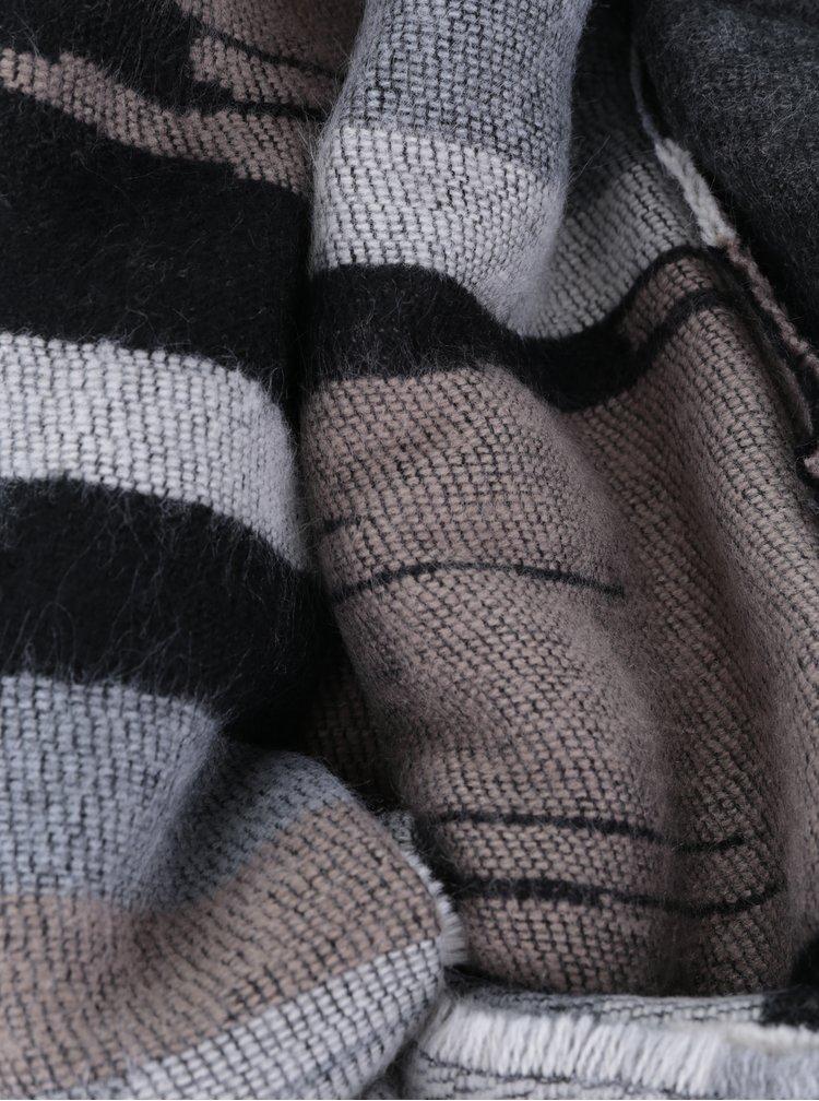 Esarfa tricotata gri & bej cu dungi si franjuri Pieces Jade