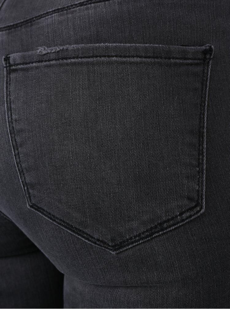 Šedé slim džíny s potrhaným efektem VERO MODA Seven