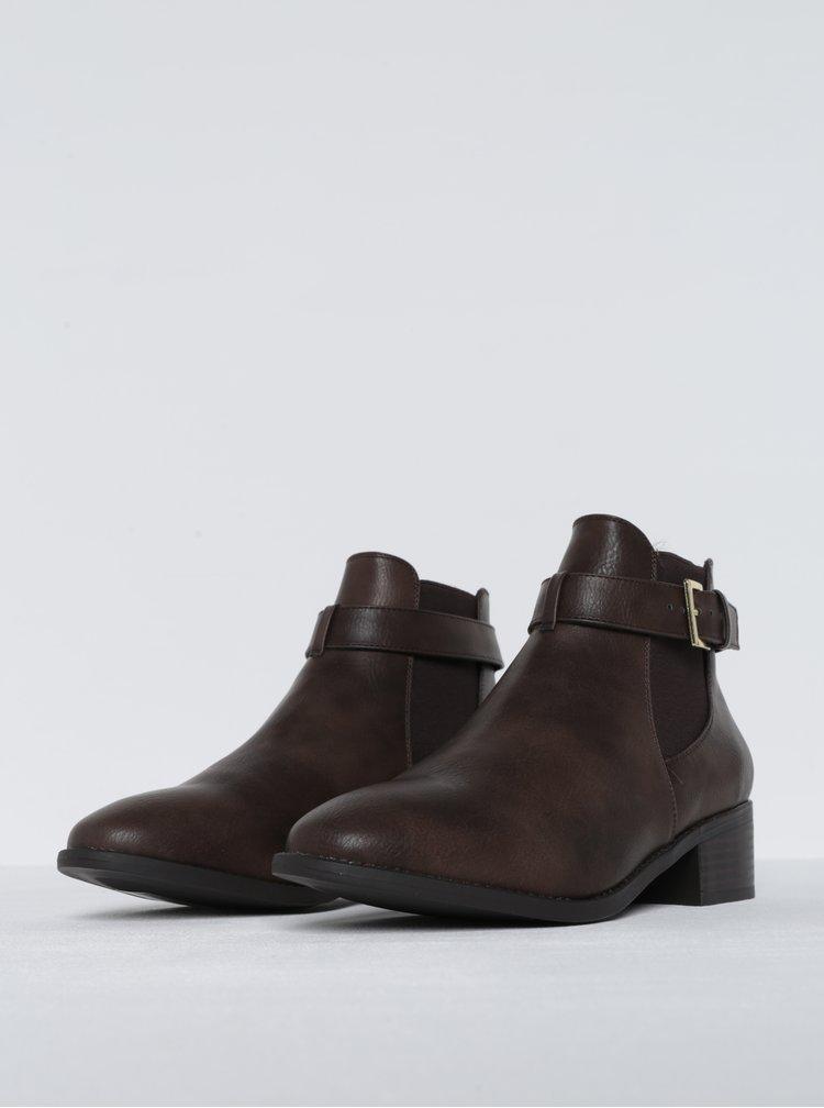 Hnědé kotníkové boty s ozdobnou přezkou Dorothy Perkins