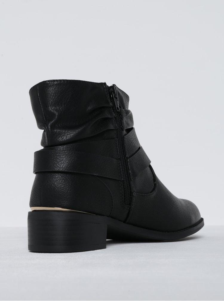 Černé kotníkové boty s ozdobnou přezkou Dorothy Perkins