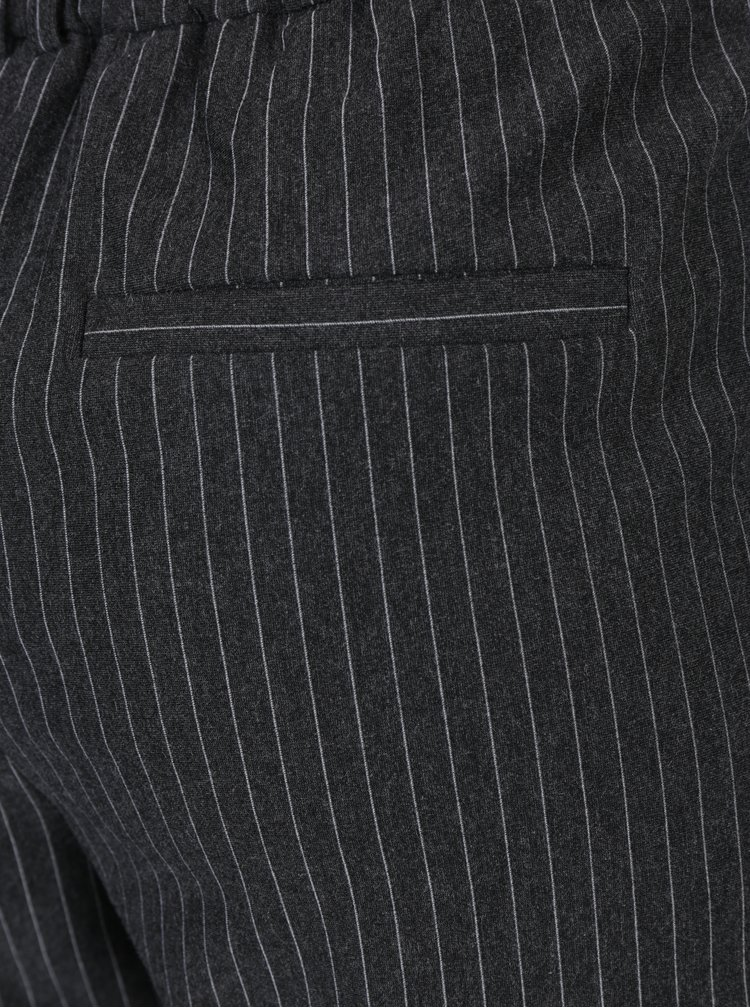Tmavě šedé pruhované volné kalhoty s vysokým pasem ONLY Poptrash
