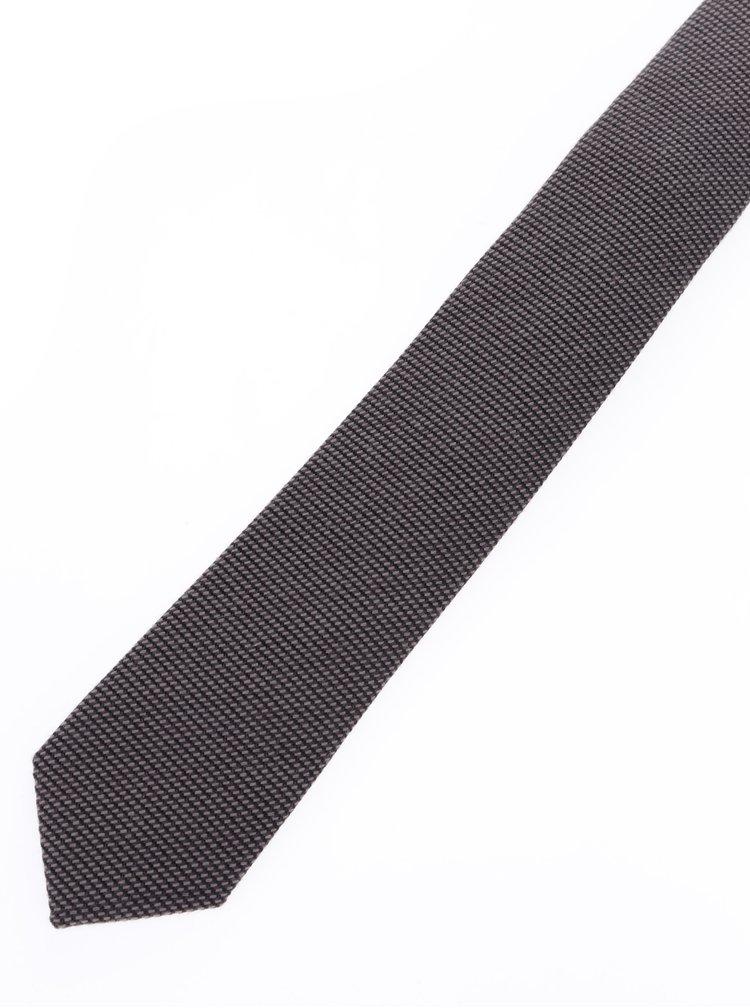 Cravata maro din amestec de lana si matase - Selected Homme New