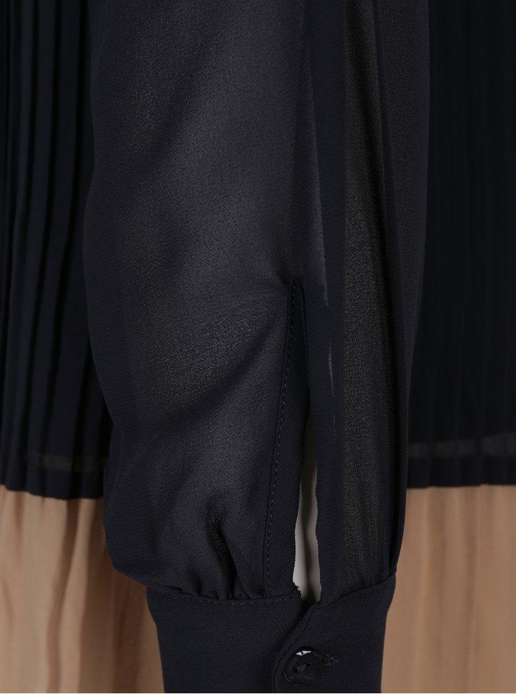 Tmavě modrá halenka s plisovanou dolní částí VILA Mable