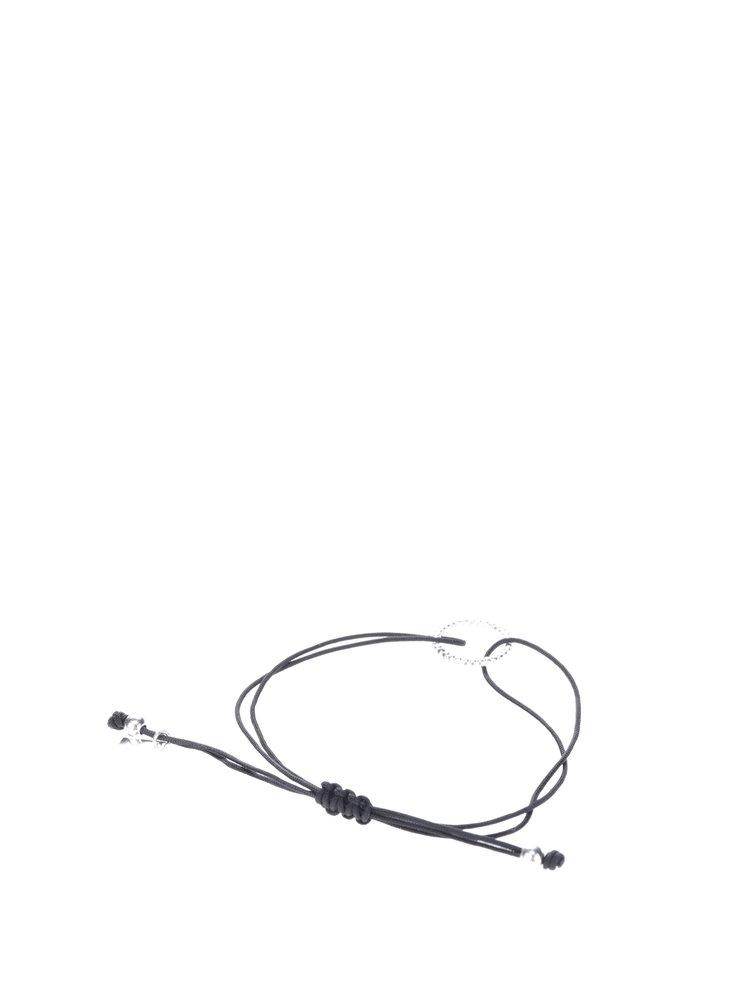 Černý náramek s postříbřeným kroužkem Pilgrim