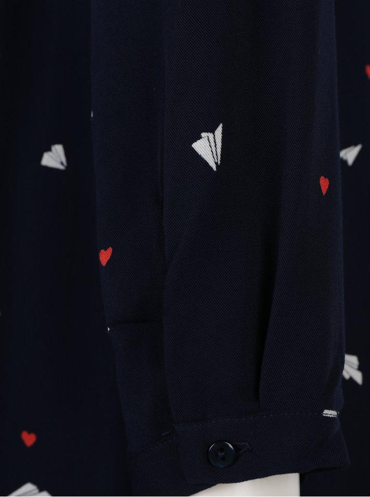 Tmavě modré vzorované šaty s dlouhým rukávem VILA Flyer