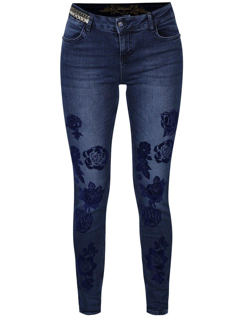 Modré slim džíny s květovaným potiskem Desigual Claudia