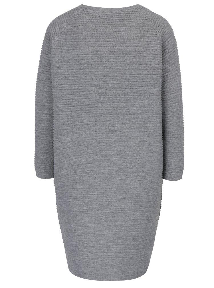 Svetlosivé svetrové šaty s dlhým rukávom VERO MODA Natascha