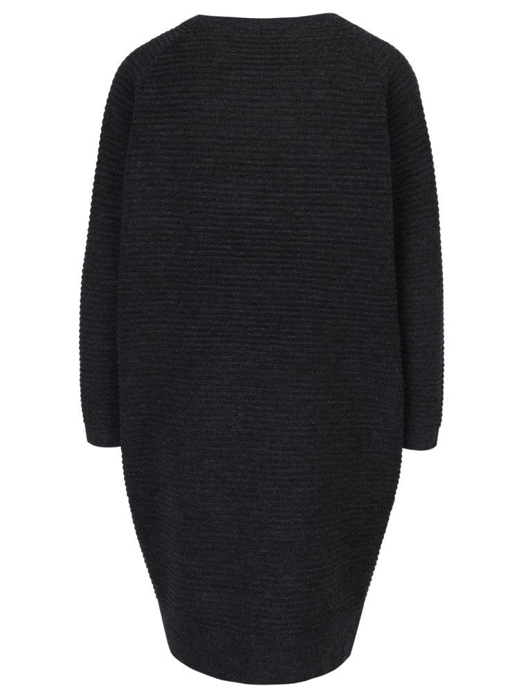 Tmavě šedé svetrové šaty s dlouhým rukávem VERO MODA Natascha