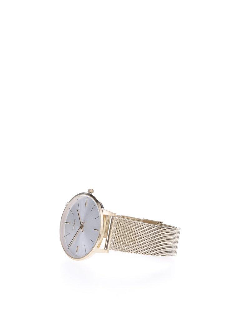 Pozlacené hodinky s kovovým páskem Pilgrim