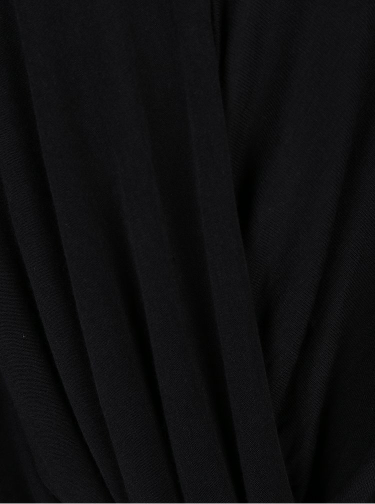 Černý volný top s překládaným výstřihem VERO MODA Honie
