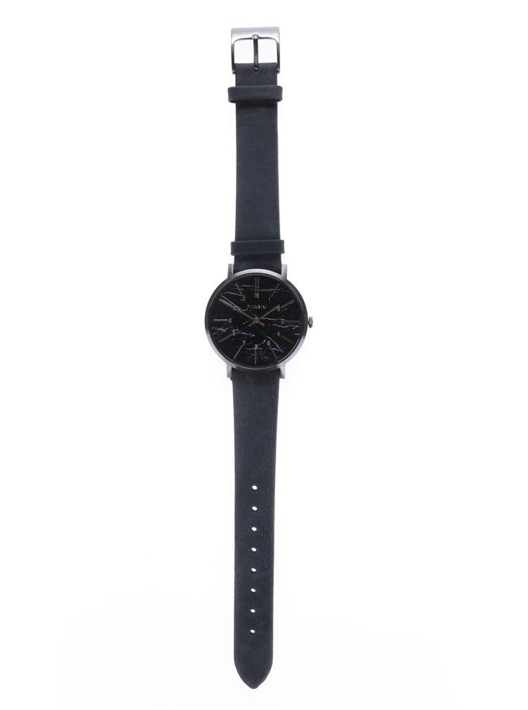 Tmavě šedé hodinky s koženým páskem Pilgrim