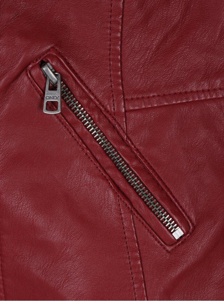 Červený koženkový křivák ONLY Maddy