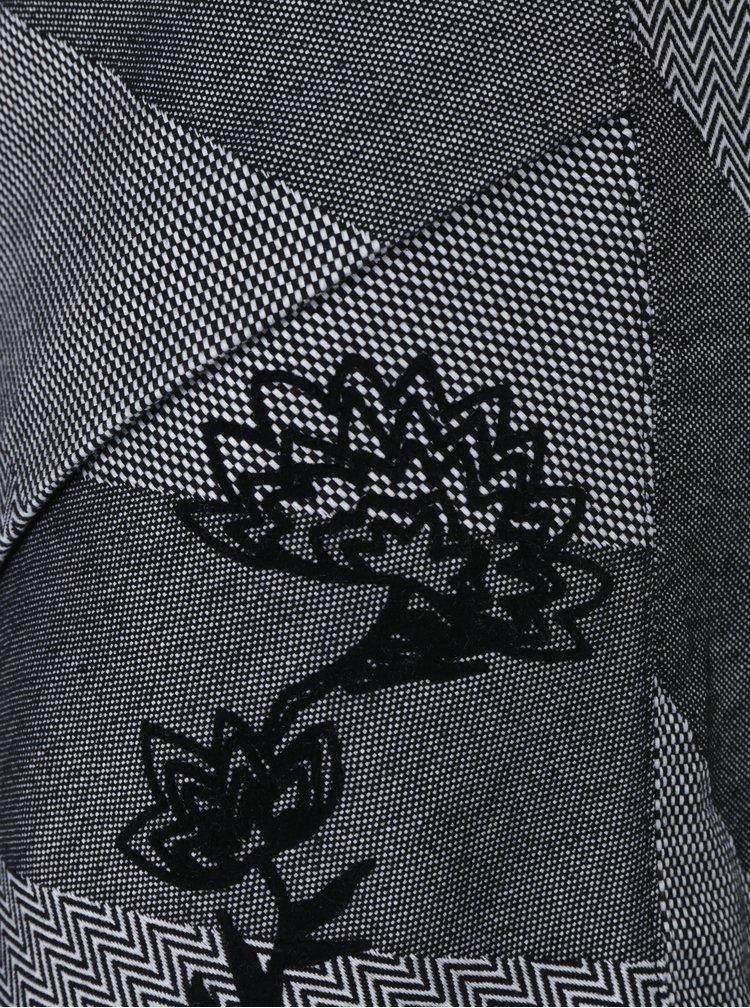 Fusta suprapusa negru & alb cu flori de catifea - Desigual Mireia
