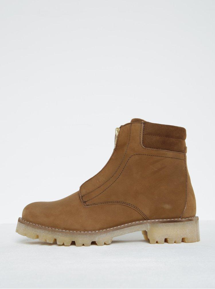 Hnědé kožené kotníkové boty Pieces Pamelina