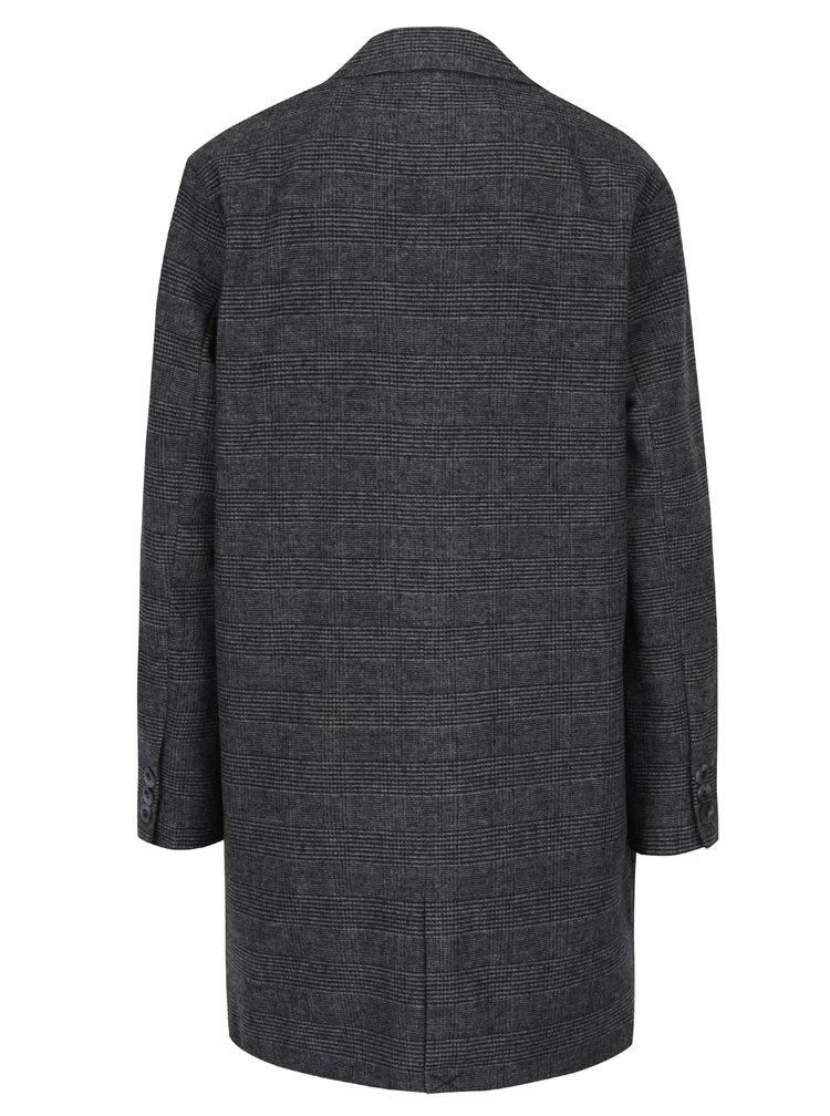 Tmavosivý kockovaný kabát s ozdobou ONLY Jenny