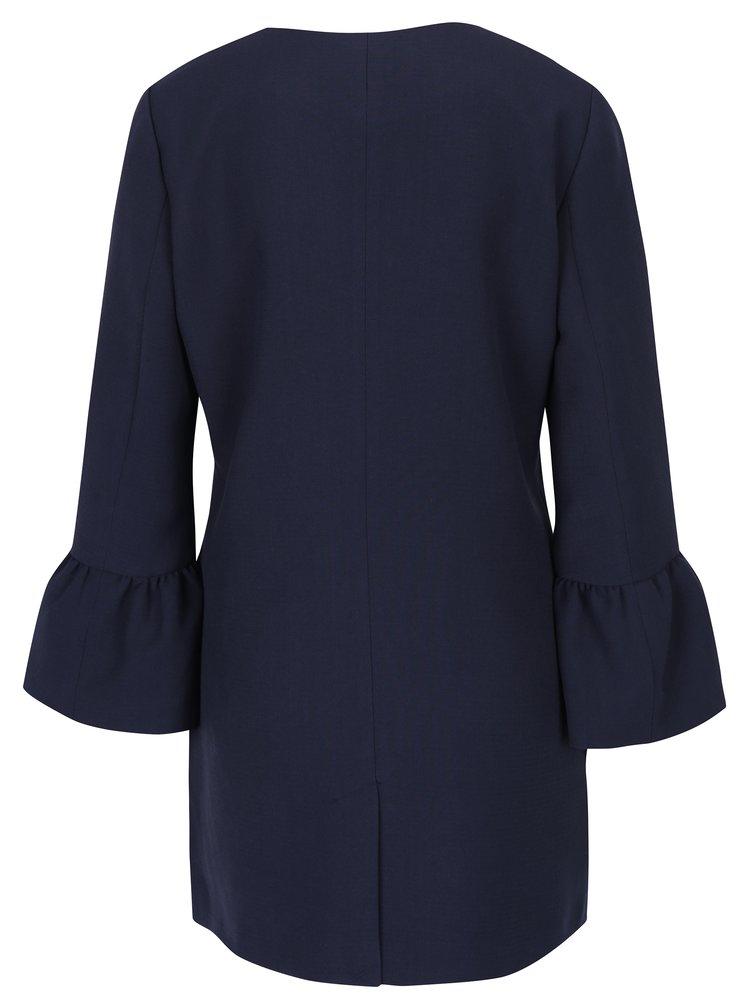 Tmavě modrý kabát s volánovými rukávy ONLY Chai
