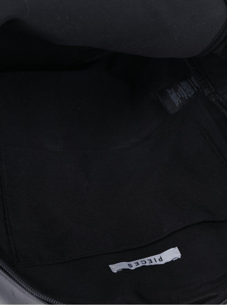 Rucsac negru cu fermoar și buzunar exterior - Pieces Wanda