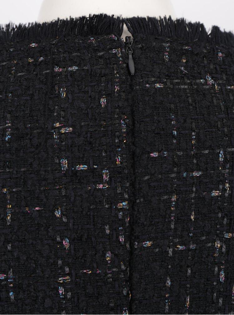 Rochie neagra cu aplicatie asimetrica si fir metalic - Desigual Achille