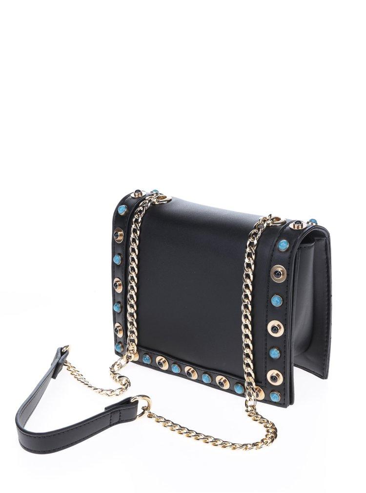 Černá crossbody kabelka s ozdobnou aplikací Pieces Nanette