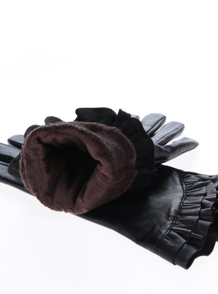 Černé kožené rukavice s volánky Pieces Junis