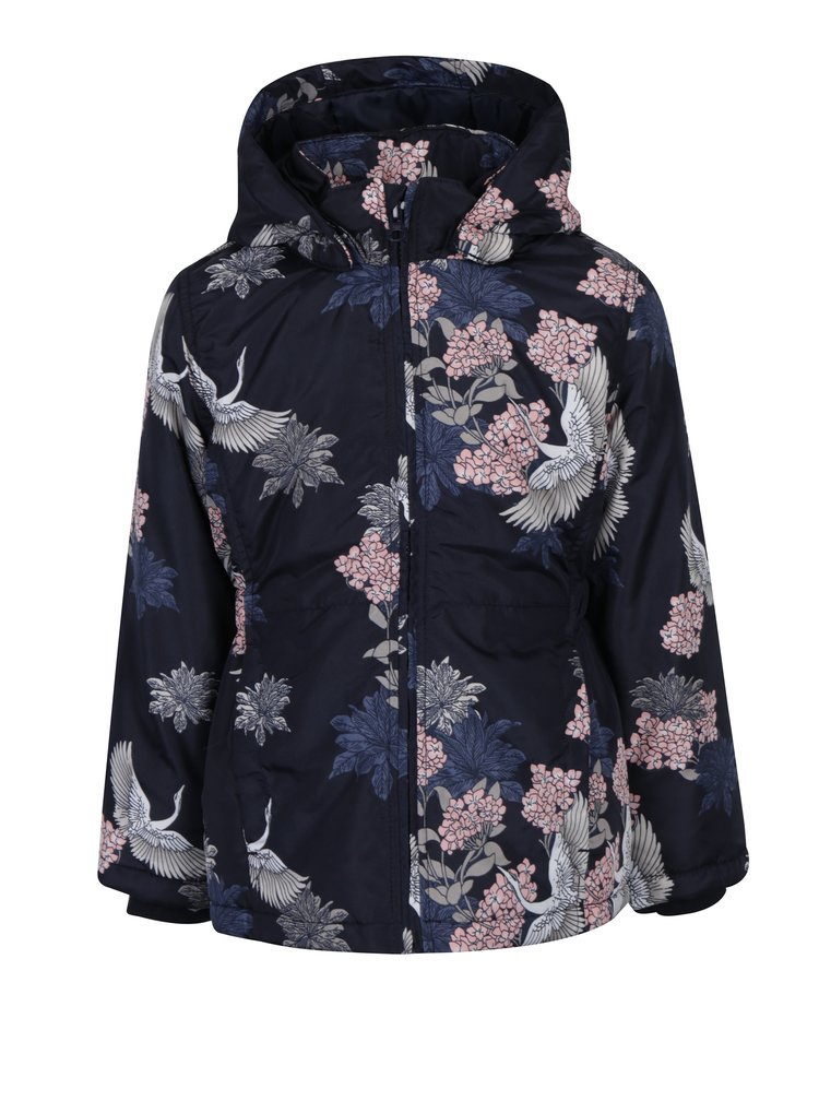 Tmavomodrá dievčenská kvetovaná bunda name it Mello