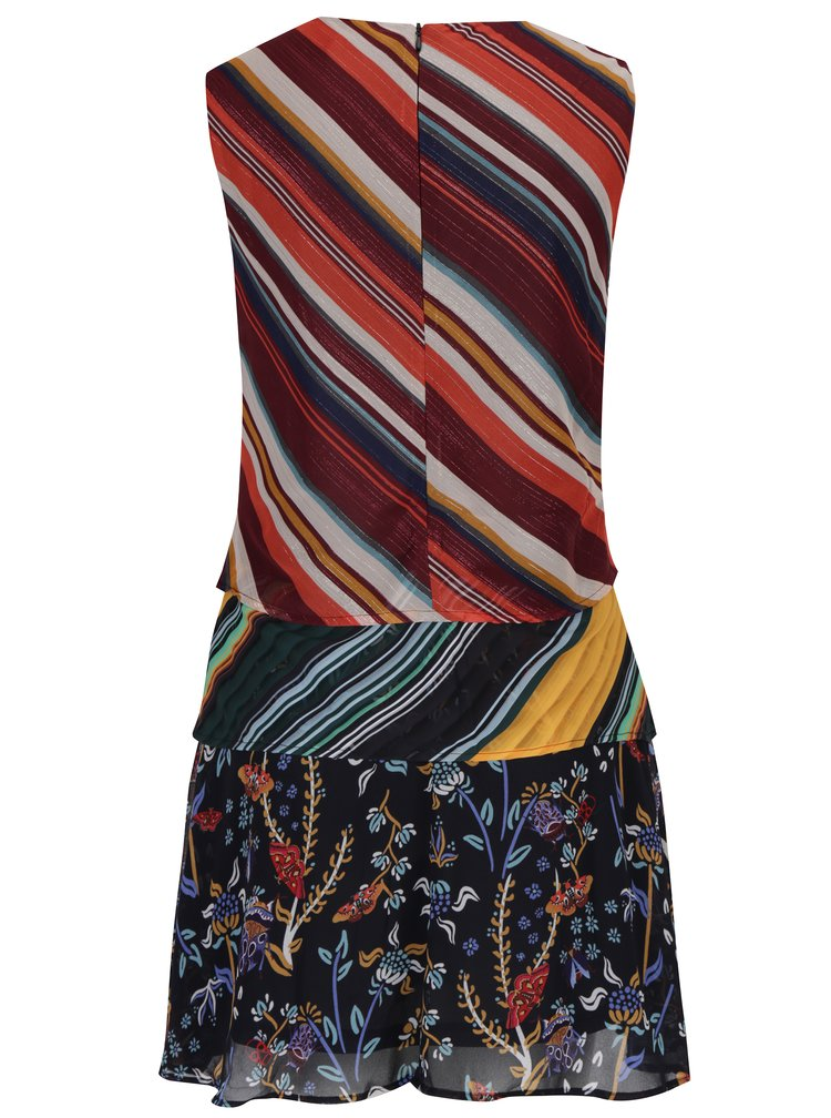 Tmavě modro-červené pruhované šaty bez rukávů Desigual Naticos