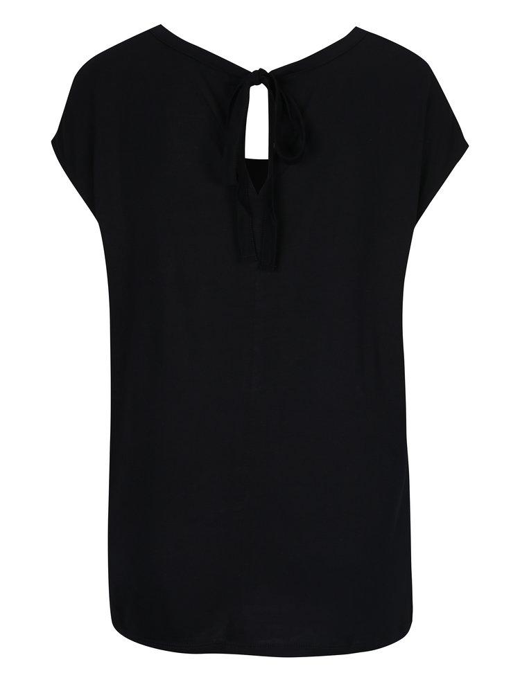Tricou negru cu print și umeri căzuți - Desigual Samira