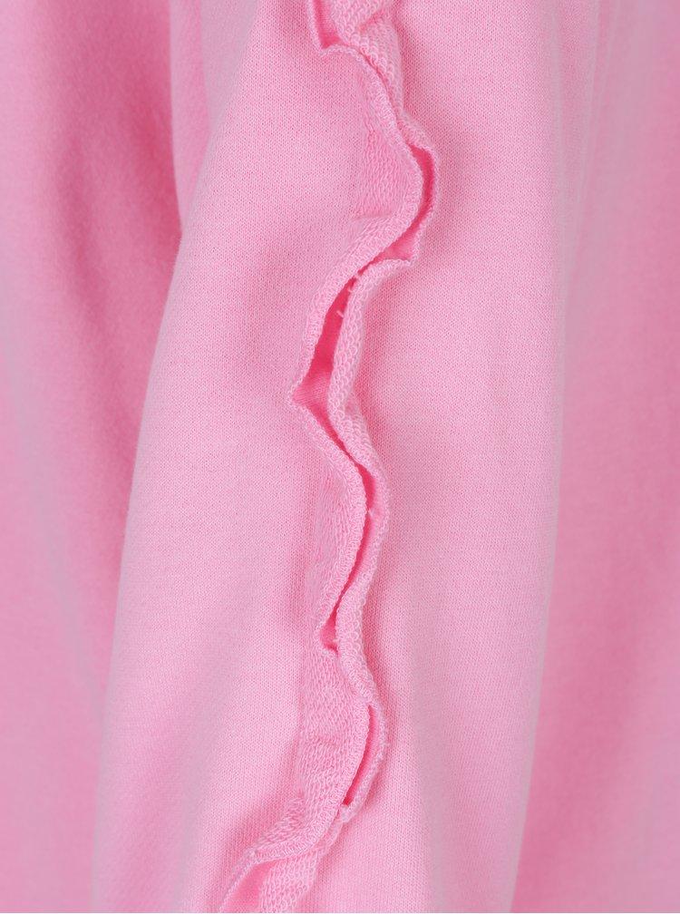 Růžová mikina s volány na rukávech ONLY Misty