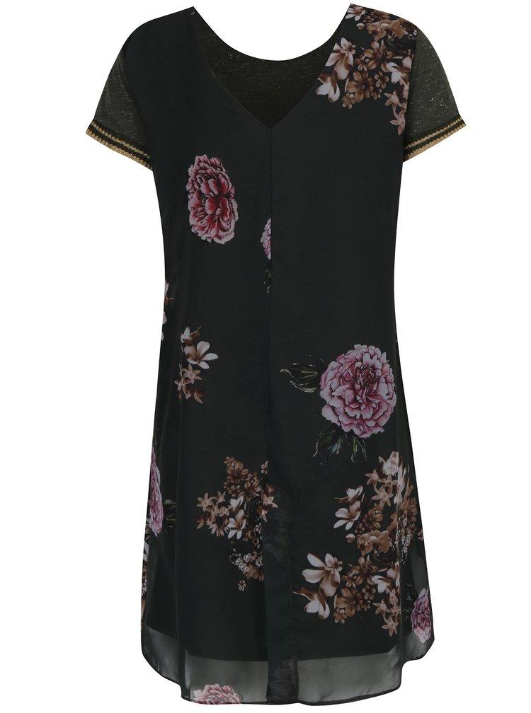 Tmavě zelené květované šaty Desigual Kina