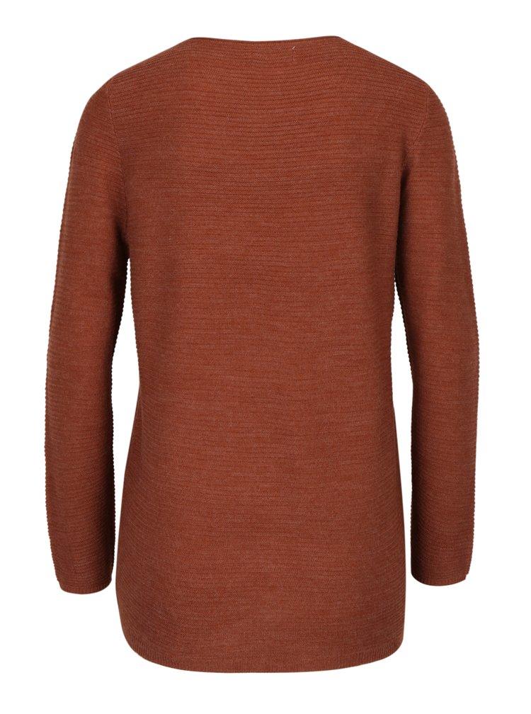 Hnedý rebrovaný tenký sveter s prekrížením ONLY Pi