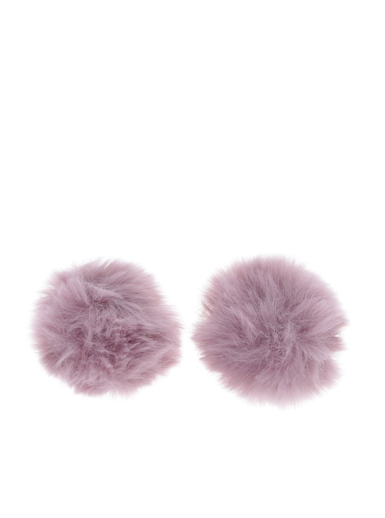 Clipsuri pompom roz pudrat pentru geanta sau incaltaminte - Pieces Pom