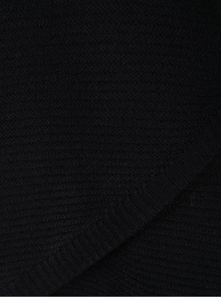 Pulover negru din jerseu cu tiv asimetric si petrecut ONLY Pi