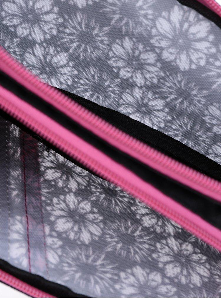 Černý holčičí květovaný penál Freelander Twin Compentment