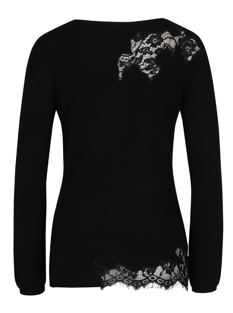 Černý svetr s krajkovým zdobením Desigual Sorpresa