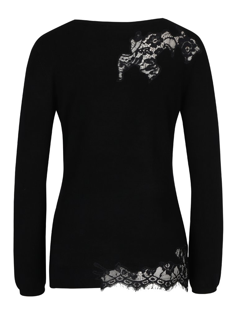 Pulover negru cu dantela si patch floral -  Desigual Sorpresa