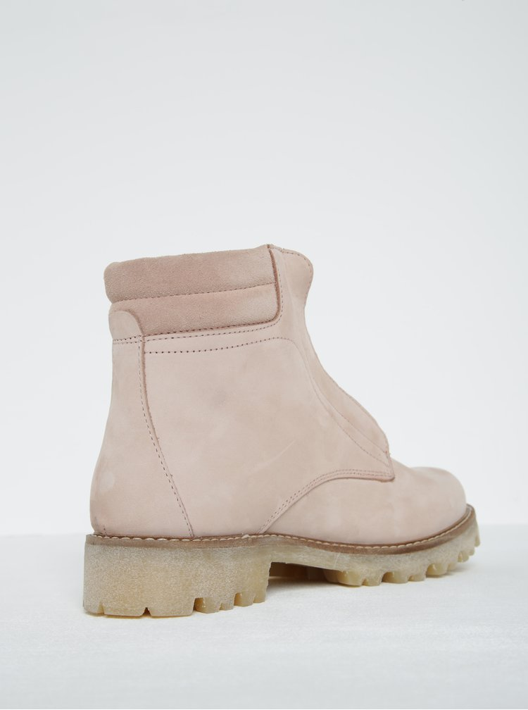 Starorůžové kožené kotníkové boty Pieces Pamelina