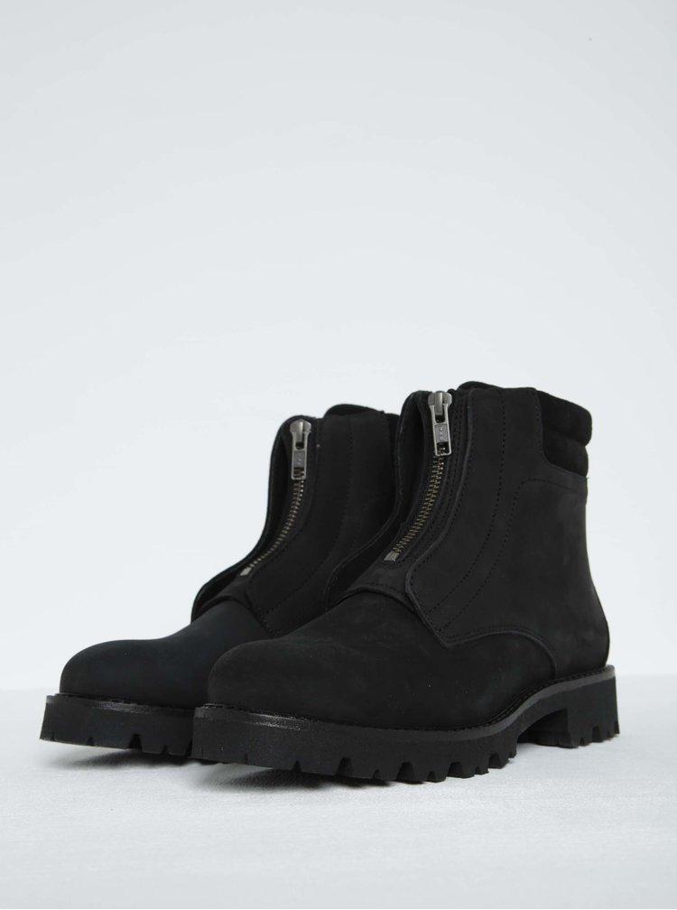 Černé kožené kotníkové boty Pieces Pamelina