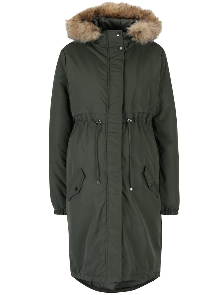 Khaki zimní parka s umělým kožíškem na kapuci Mama.licious Jessie