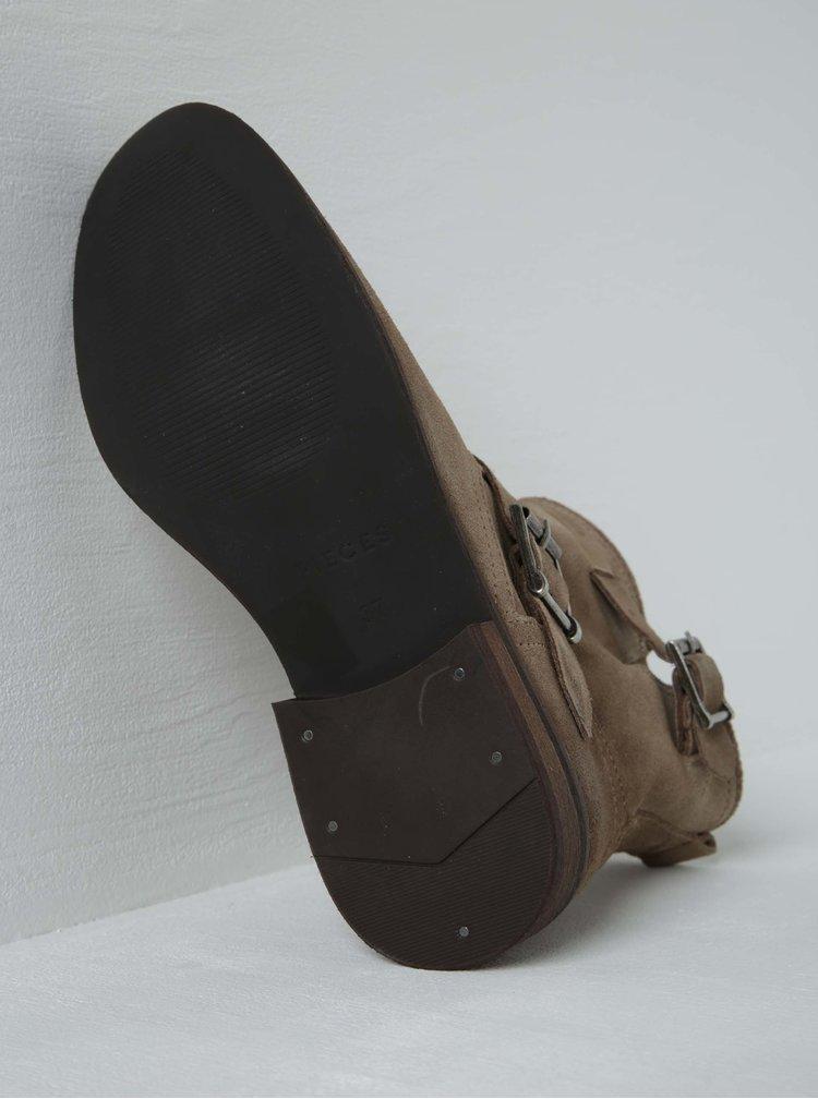 Béžové semišové kotníkové boty s přezkami Pieces Petti