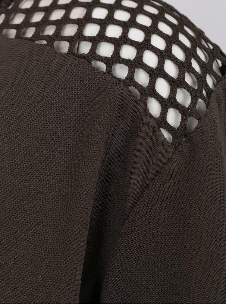 Khaki tričko se síťovanými detaily ONLY Haly