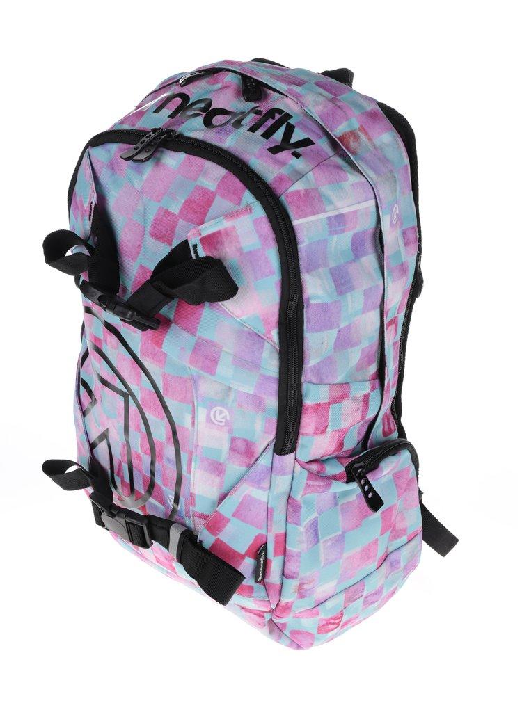 Zeleno-růžový dámský kostkovaný batoh Meatfly Basejumper 3 20 l