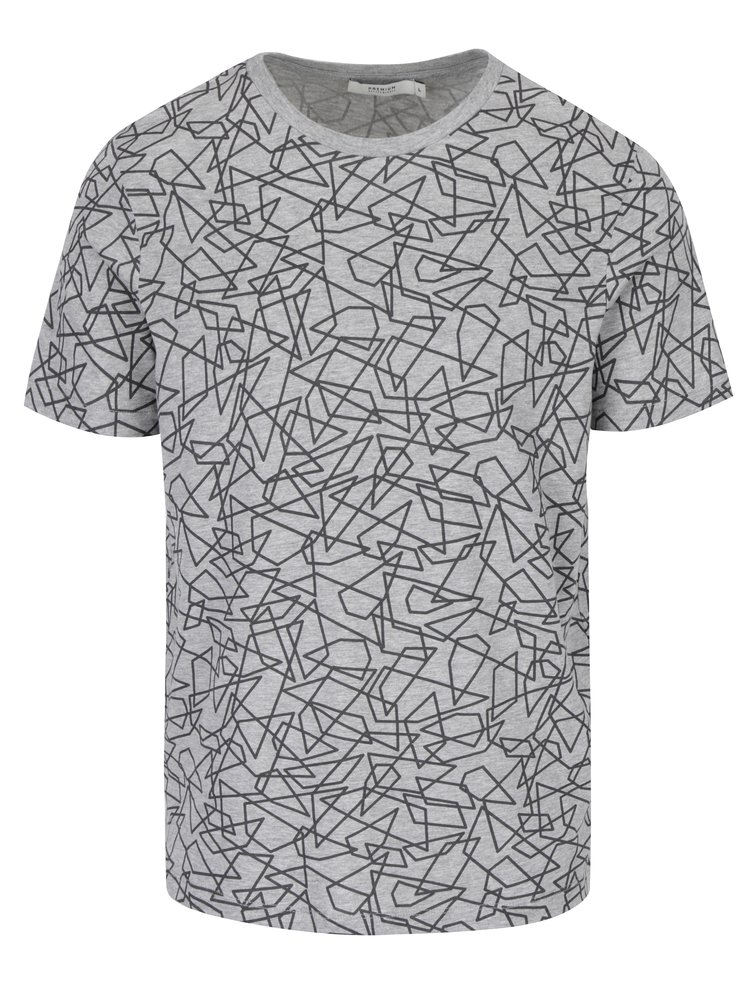 Tricou gri cu model geometric Jack & Jones Premium Motive