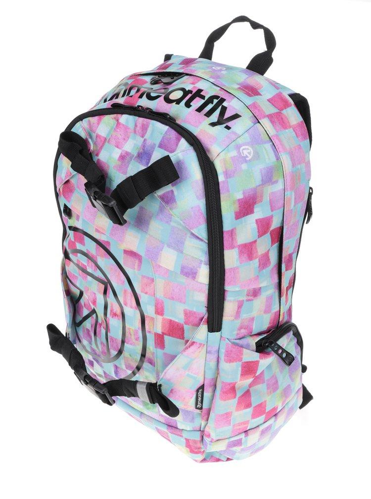 Zeleno-žluto-růžový dámský kostkovaný batoh Meatfly Basejumper 3 20 l