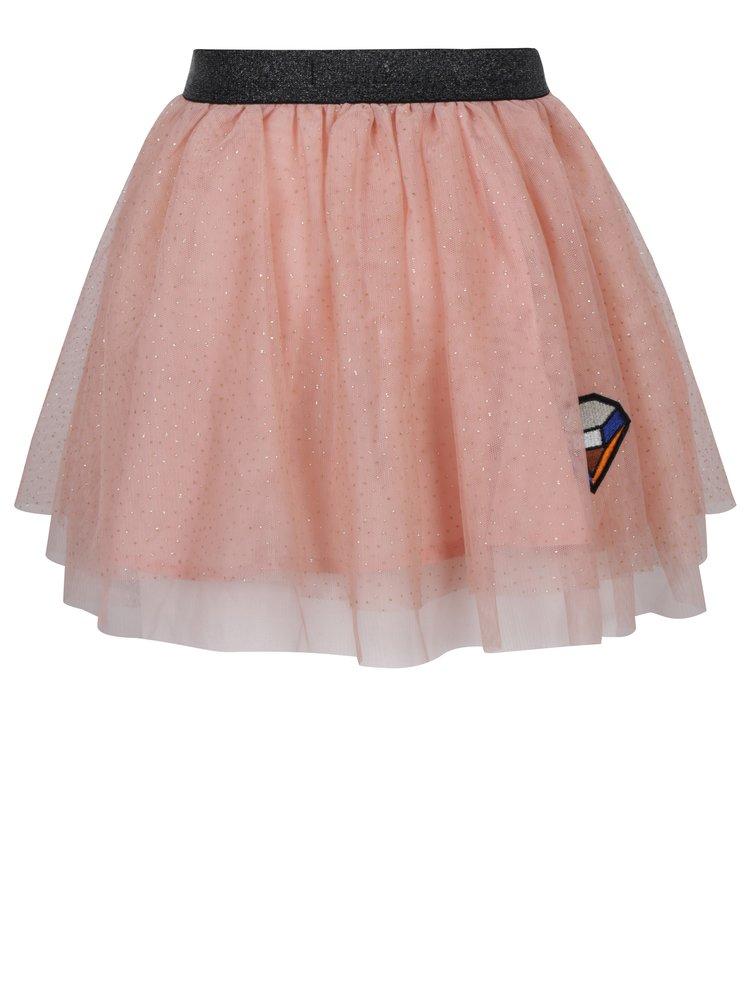 Růžová holčičí tylová sukně s nášivkami Name it Mala
