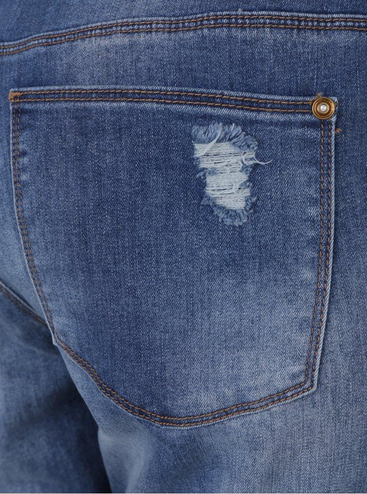 Modré skinny džíny s potrhaným efektem a cvočky ONLY Carmen