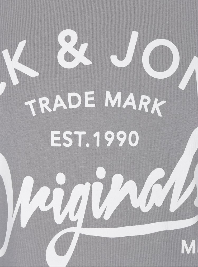 Šedé tričko s potiskem Jack & Jones Carry