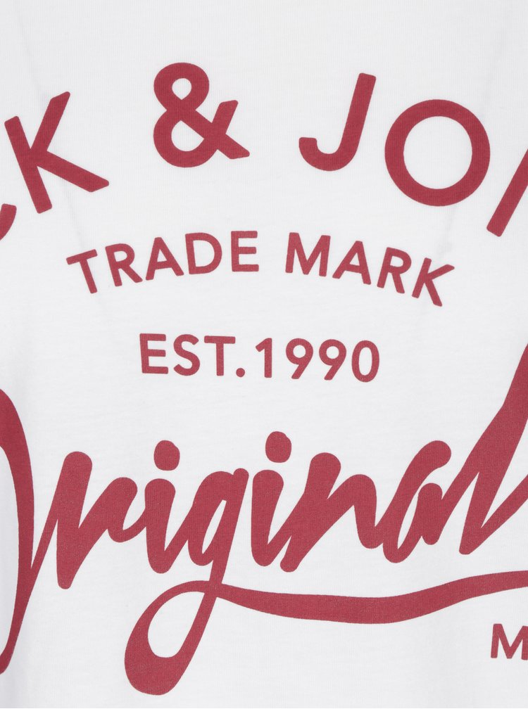 Tricou alb cu logo print Jack & Jones Carry